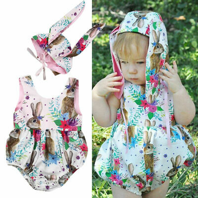 53a34d56e Newborn Baby Girl Easter Romper Bodysuit Jumpsuit Bunny Hat Outfit Clothes