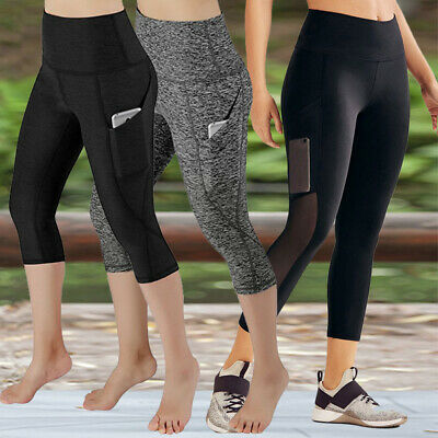 2019 Women's 3/4 Leggings Activewear Yoga Fitness Capri Cropped Pants Gym Pocket
