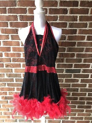 dbca39226ec0b Dance Costume Sz Extra Large Child Black Red Feathers Sequins Lace Curtain  Call