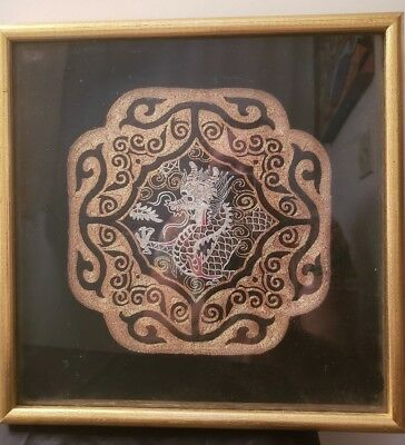 Antique Chinese Emroidered Dragon - Qing Dynasty - Framed