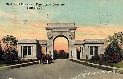 Buffalo, NY 1913 Main Street Entrance to Forest Lawn Postcard NOT Repro