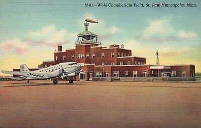 St. Paul - Minneapolis, Minnesota 1942 Wold Chamberlain Field Postcard NOT Repro
