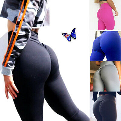Womens High Waist Push Up Yoga Pants Ruched Leggings Sports Fitness Trousers AU