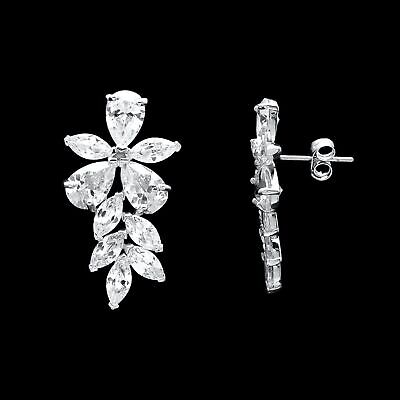 51bd32e4c 5.00Ct Marquise Pear Created Diamond Cluster Stud Earrings 14K White Gold  Large
