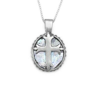 "Lady's Necklace - 18"" Round Ancient Roman Glass with Cross Necklace"