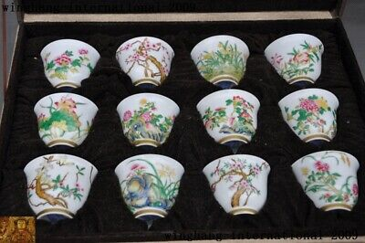 Old Marked Chinese dynasty Wucai Pastel porcelain Gilt flower Tea cup Bowl set