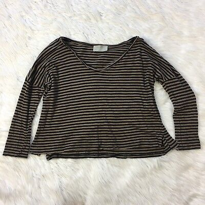 15910097c7 Zara Trafaluc Top Size SMALL Oversized Crop Brown Black Striped Womens S