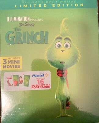 NEW DR. SEUSS THE GRINCH BLU RAY DVD Digital WALMART EXCLUSIVE LIMITED EDITION