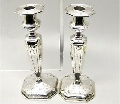Antique JE Caldwell & Co Sterling Silver Candle Holder Candlestick Pair Ornate