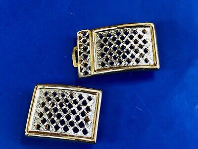 Vintage Gold silver Tone two piece  Belt Buckle signed Accessocraft NYC