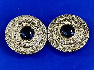 VINTAGE GOLD Color or plated ABSTRACT Art Deco two piece round black BELT BUCKLE