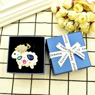 White Sheep Fashion Keychain Rhinestone Crystal Charm Cute Animal Gift 01173