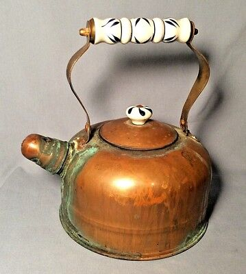 Vintage Copper Tea Kettle Blue White Ceramic Handles Awesome Teal Patina!
