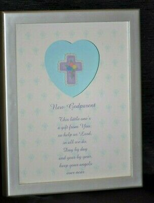 * NEW * GODPARENT Christian CROSS PRAYER Picture Poem GIFT Keepsake BAPTISM 8x6