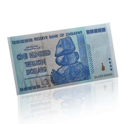 Zimbabwe 100 Trillion Silver Banknote Plated Pure 24K Silver (ZM1SN)