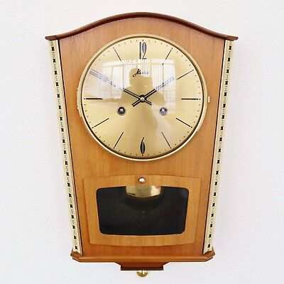 German Vintage Wall Clock HAID Top 1950s RARE MODEL Mid Century WARM 3 Bar Chime