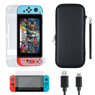 For Nintendo Switch Accessory Case Bag + Shell Cover + Charging Cable+ Protector
