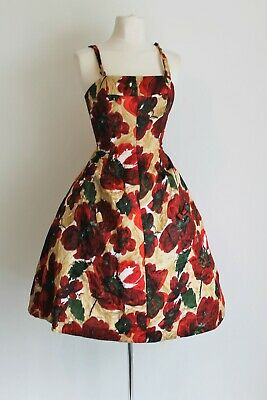Ricci Michaels Mayfair Vintage c 1961/62 Silk Prom Hoop Dress Fit Modern Uk 10