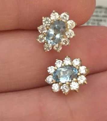 Vintage Jewellery Adorable 9 carat gold and real topaz crystal flower earrings