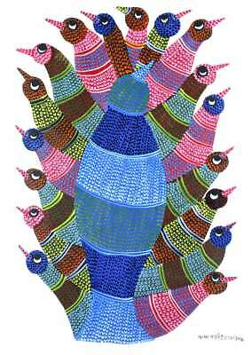 Wall Hanging Gond Painting (Authentic Bird Family) Size :- 14/11 Inch