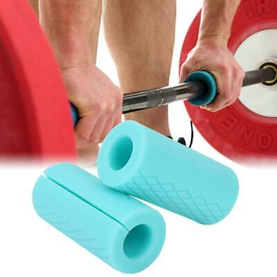 1 Pair Thick Fat Barbell Silicone Grips Home Gym Arm Wrap Bar Dumbbell Grip New