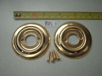 2 x 60 mm DIA ANTIQUE STYLE BRASS DOOR KNOB BACK PLATE / ROSES / RIM LOCK  BPL 1