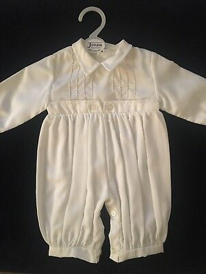 79a4bc916 Baby Boys White Christening baptism Romper outfit suit. Made In England.