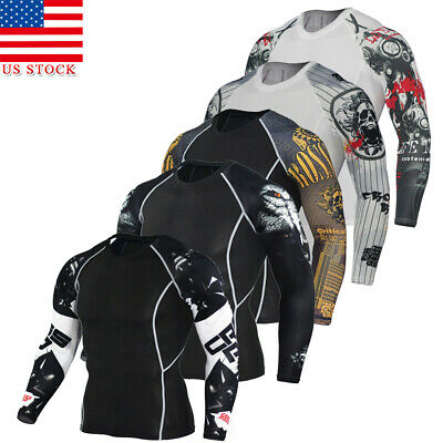 US STOCK Men Compression Printed Long Sleeve T Shirt Stretch Gym Sport Fitness