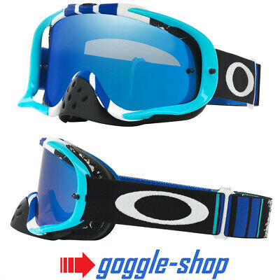 Oakley Crowbar Motocross Mx Goggles - Pinned Race Blue White / Black Ice Iridium