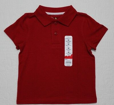 New Jumping Beans Toddler Boys Polo Collar Style Shirt Red Size 2T 3T 4T