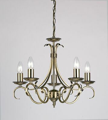 5 LIGHT CEILING FITTING ANTIQUE BRASS FINISH 510-660mm PENDANT - VINTAGE LOOK
