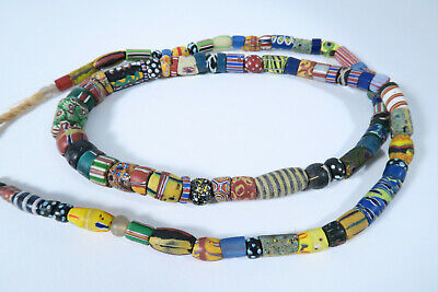 Alte Glasperlen Mixed Murano Venedig AM97 Old Venetian African trade beads 90cm.