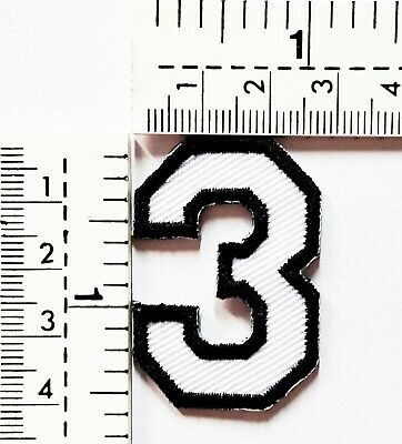 White Number 3 Patches Embroidered Sew On/Iron On Patch Applique Clothes Jacket