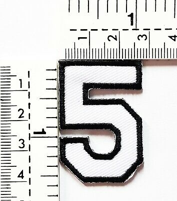 White Number 5 Patches Embroidered Sew On/Iron On Patch Applique Clothes Jacket