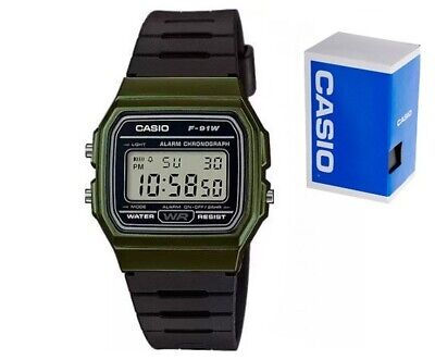 Casio F-91W Verde Green Color Digitale Vintage Unisex Classico Sveglia