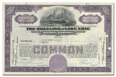 Wheeling and Lake Erie Railway Company Stock Certificate