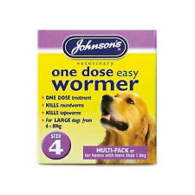 Johnsons One Dose Easy Wormer Dog Worming Tablets SIZE 4 MULTI PACK 8 TABS