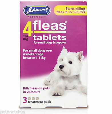 JOHNSONS 4 FLEAS TABLETS for SML DOG / 1-11KG | 3 TREATMENT PACK | FLEA KILLER