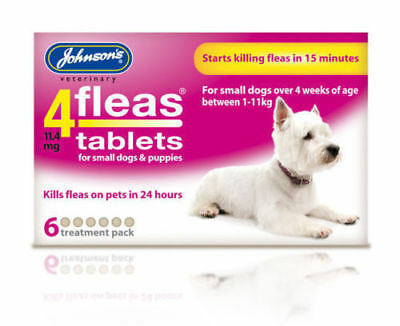 JOHNSONS 4 FLEAS TABLETS for SML DOG / 1-11KG | 6 TREATMENT PACK | FLEA KILLER