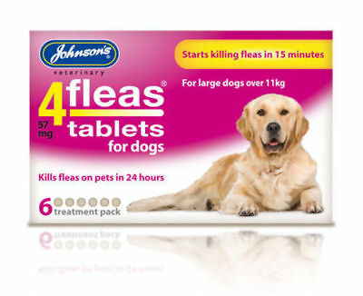 JOHNSONS 4 FLEAS TABLETS for LARGE DOG / OVER 11KG | 6 TREATMENT PACK KILLS FLEA