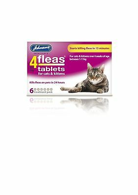 Johnsons 4FLEAS Tablets for Cats and Kittens 6 Tablet Pack Flea Treatment