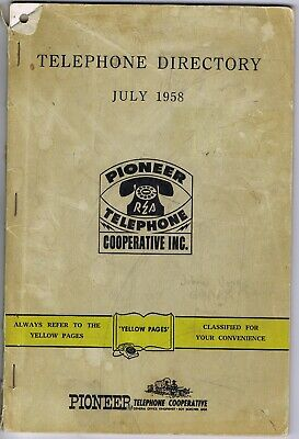 Pioneer Telephone Co Op Phone Book 1958 Geary Drummond Yellow Pages Oklahoma