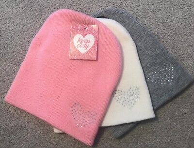 Girls 3 Pack Heart Jeweled Beanie Hats, Warm, Winter, Cute, Pink,white,grey
