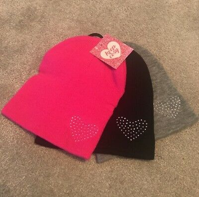 Girls 3 Pack Heart Jeweled Beanie Hats, Warm, Winter, Cute, Pink,Black,grey