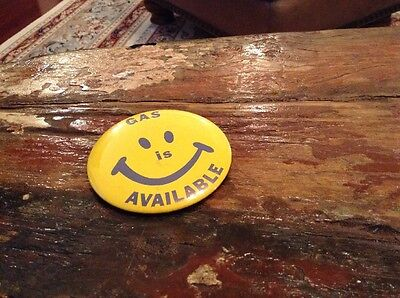 Vintage 1970's Smiley Face Gas Is Available Pinback Button
