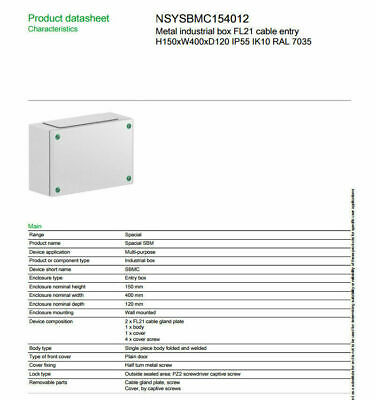 Schneider  METAL ADAPTABLE BOX ENCLOSURE OUTDOOR ELECTRICAL IP55 PROJECT Case
