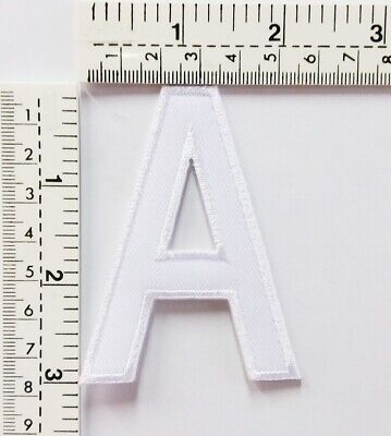 3 IN White Letter A Patches Embroidered Patch Sew/Iron On Patch Applique Clothes