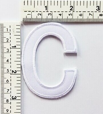 3 IN White Letter C Patches Embroidered Patch Sew/Iron On Patch Applique Clothes