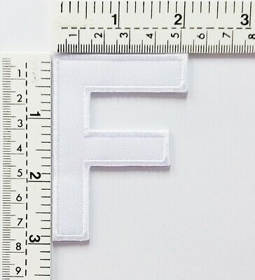 3 IN White Letter F Patches Embroidered Patch Sew/Iron On Patch Applique Clothes