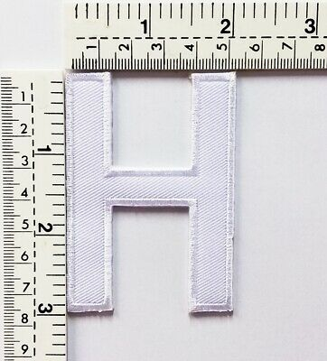 3 IN White Letter H Patches Embroidered Patch Sew/Iron On Patch Applique Clothes
